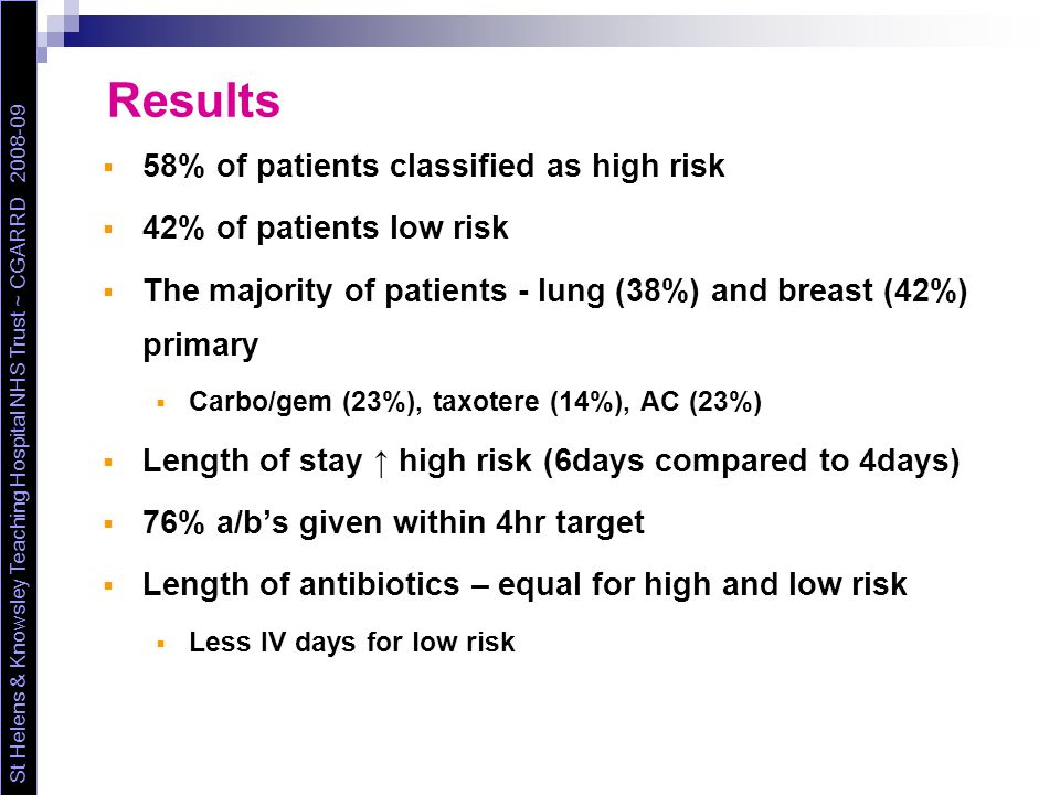Results  58% of patients classified as high risk  42% of patients low risk  The majority of patients - lung (38%) and breast (42%) primary  Carbo/gem (23%), taxotere (14%), AC (23%)  Length of stay ↑ high risk (6days compared to 4days)  76% a/b's given within 4hr target  Length of antibiotics – equal for high and low risk  Less IV days for low risk St Helens & Knowsley Teaching Hospital NHS Trust ~ CGARRD 2008-09