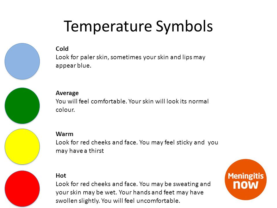 Temperature Symbols Cold Look for paler skin, sometimes your skin and lips may appear blue.