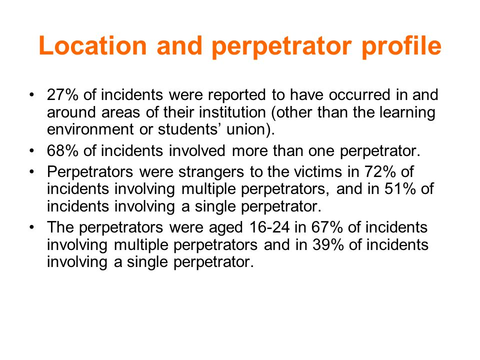 Reporting Proportion of incidents reported to institution