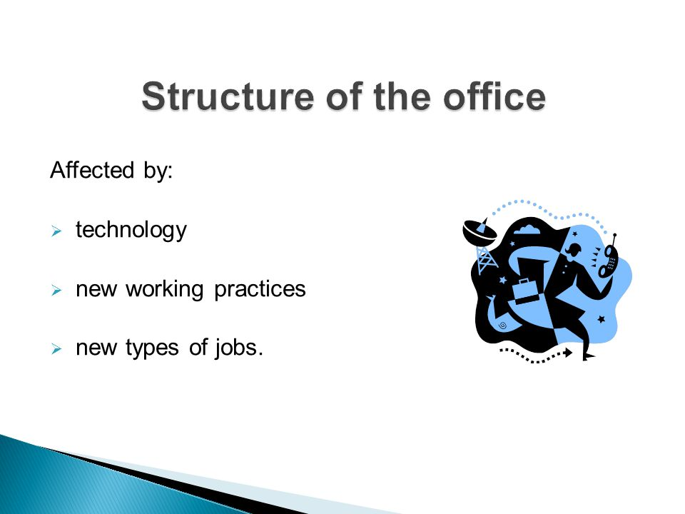 Affected by:  technology  new working practices  new types of jobs.