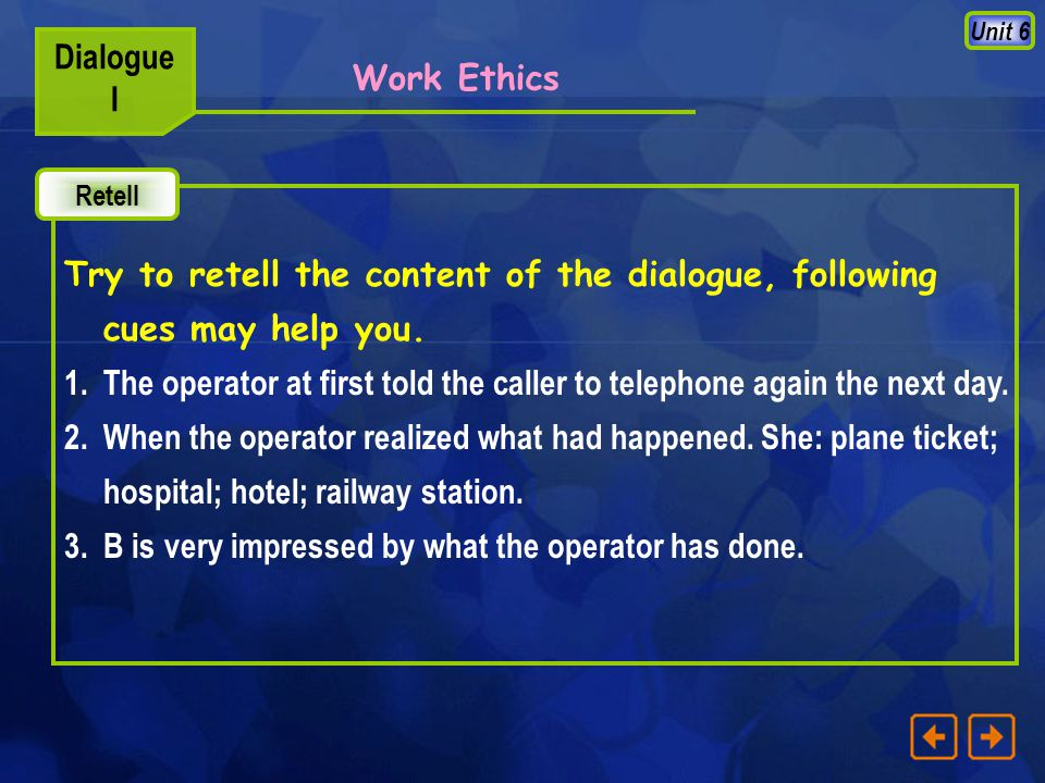 Unit 6 Dialogue I Please read the dialogue loudly with feeling and expression. Read Work Ethics