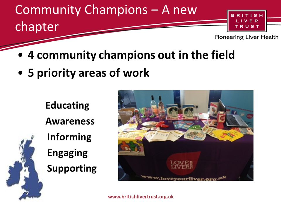 Community Champions – A new chapter 4 community champions out in the field 5 priority areas of work Educating Awareness Informing Engaging Supporting www.britishlivertrust.org.uk