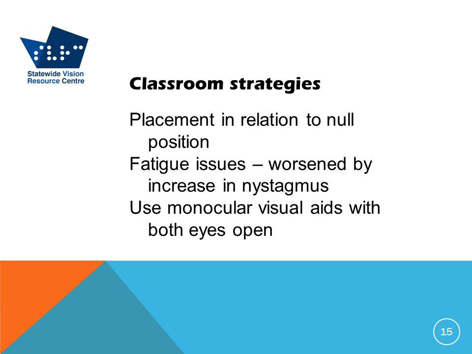 Classroom strategies Placement in relation to null position Fatigue issues – worsened by increase in nystagmus Use monocular visual aids with both eyes open 15