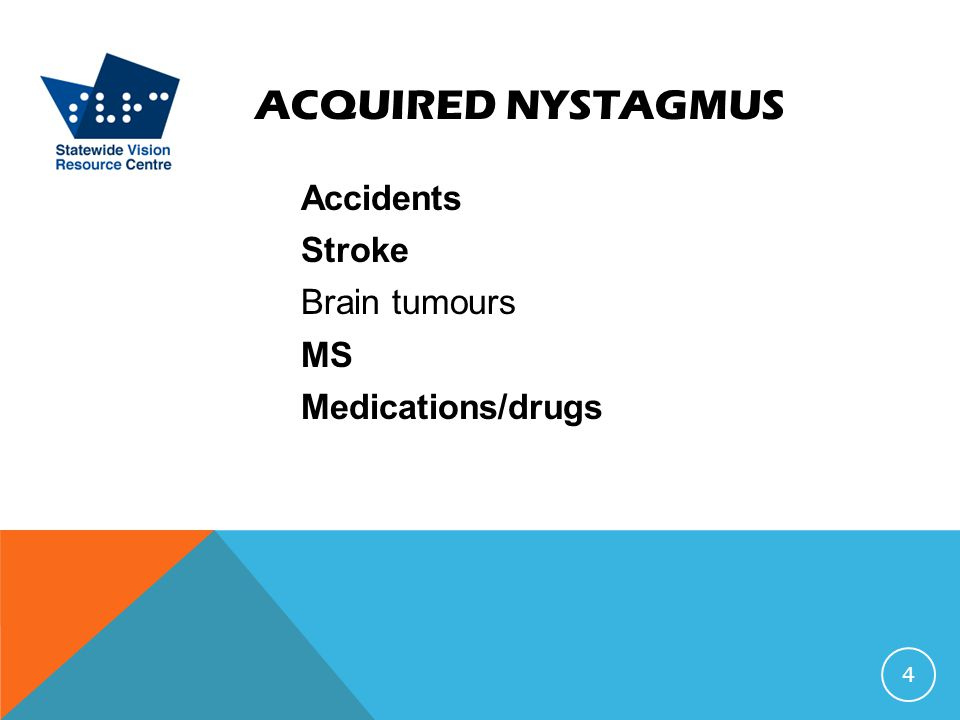 ACQUIRED NYSTAGMUS Accidents Stroke Brain tumours MS Medications/drugs 4