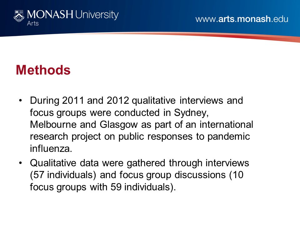 Methods During 2011 and 2012 qualitative interviews and focus groups were conducted in Sydney, Melbourne and Glasgow as part of an international research project on public responses to pandemic influenza.