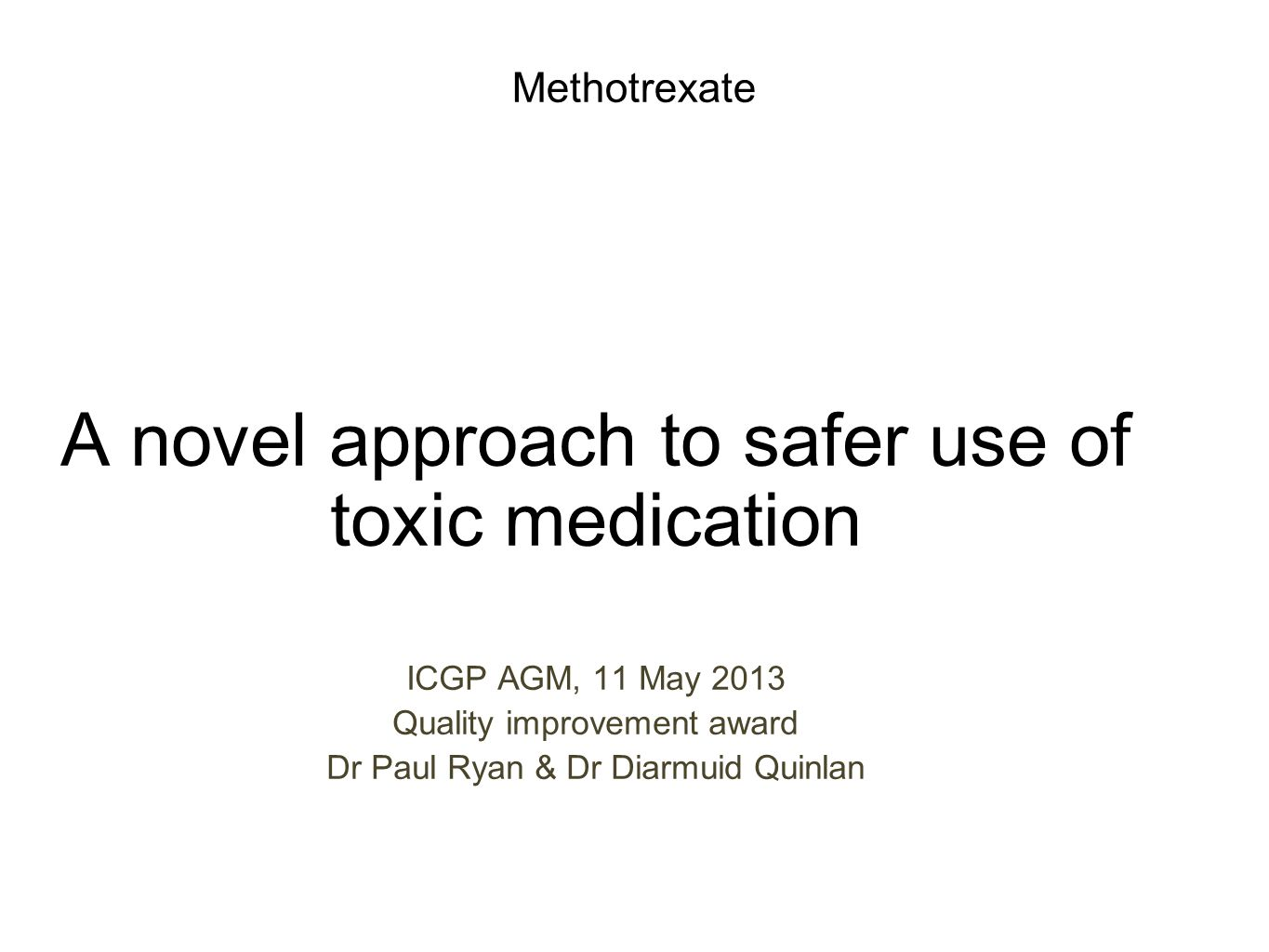 . Methotrexate; We can do better Background Method Outcomes ALERT card