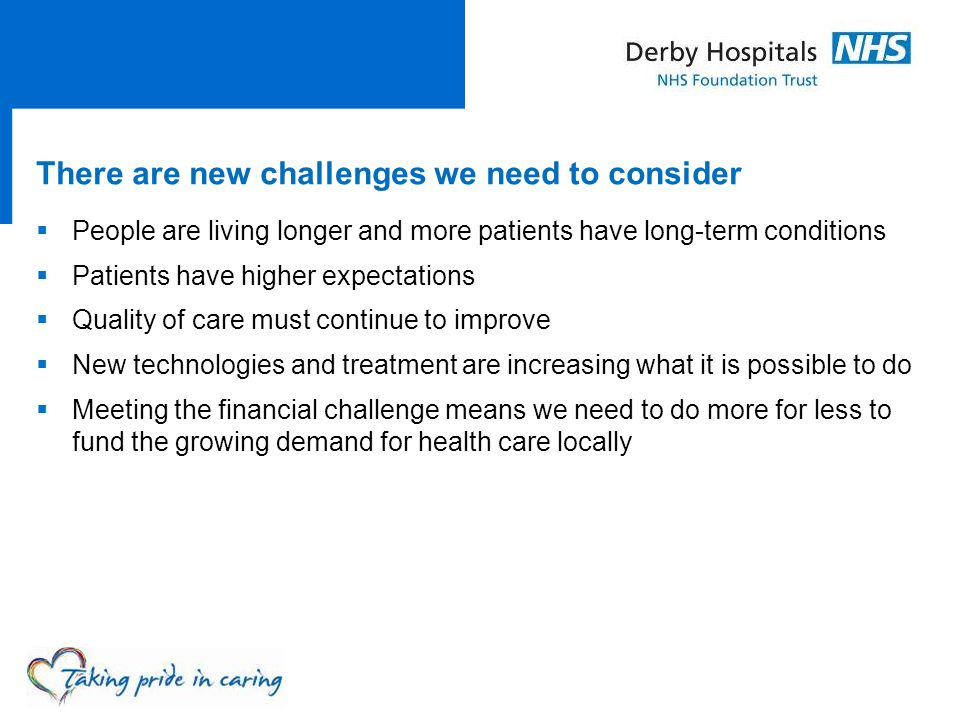 There are new challenges we need to consider  People are living longer and more patients have long-term conditions  Patients have higher expectation