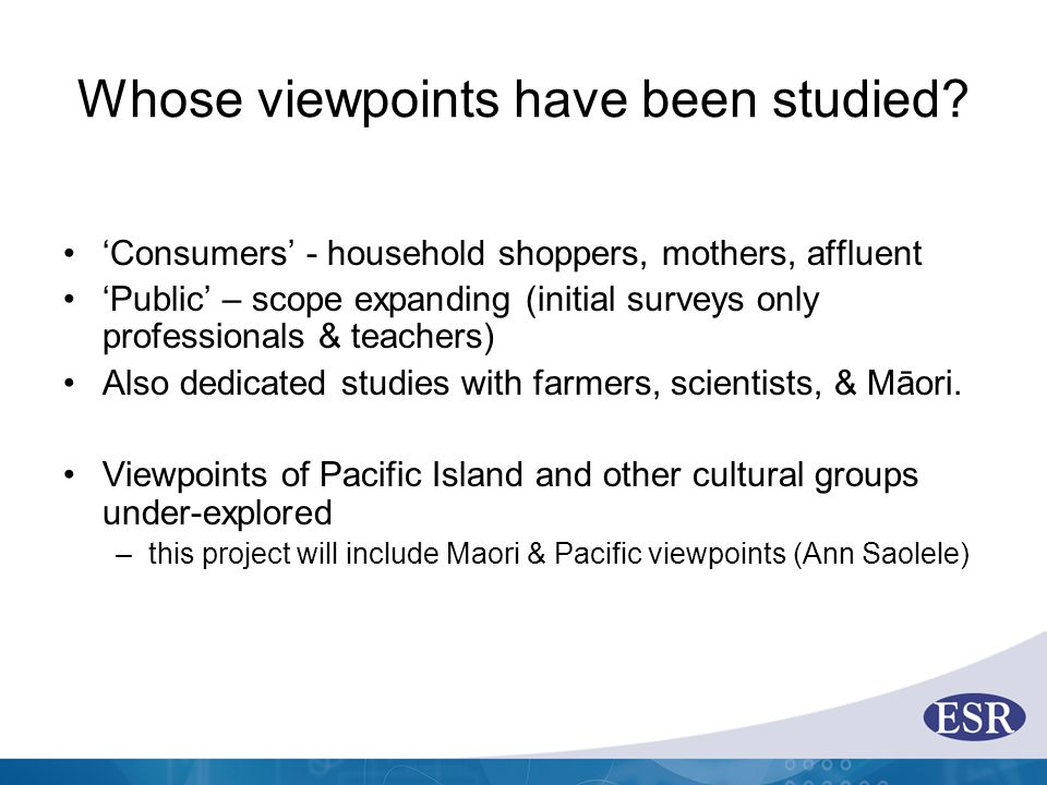 Whose viewpoints have been studied.