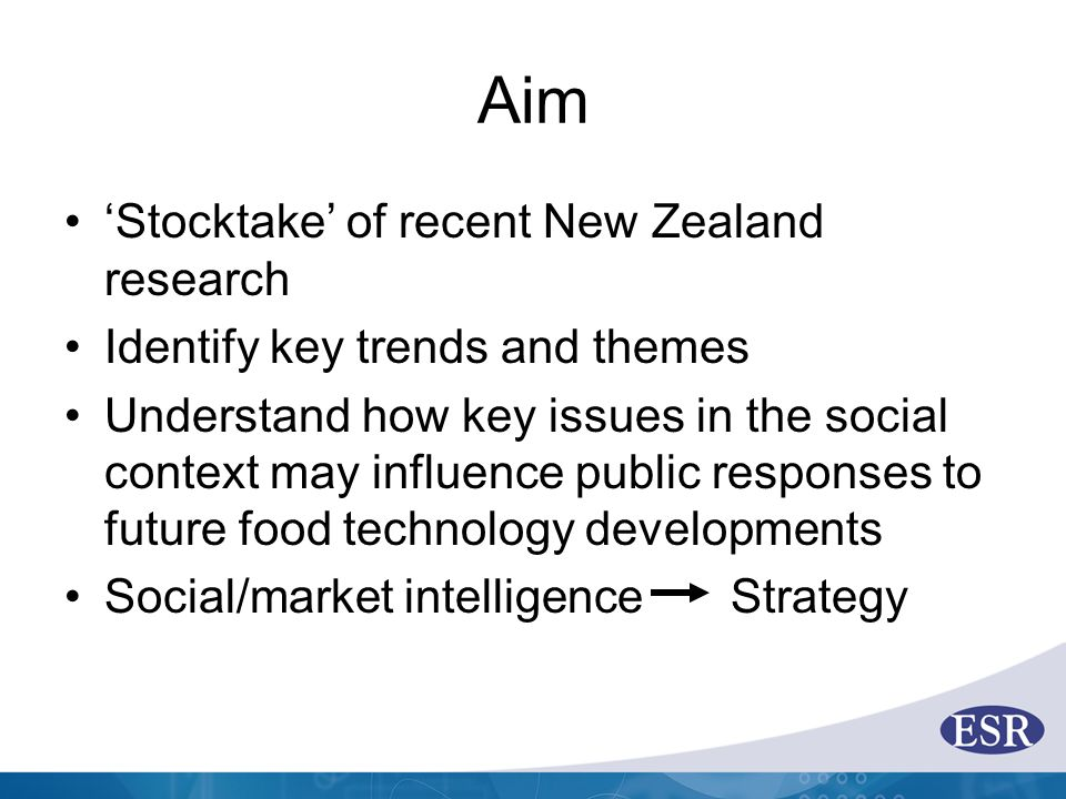 Aim 'Stocktake' of recent New Zealand research Identify key trends and themes Understand how key issues in the social context may influence public res