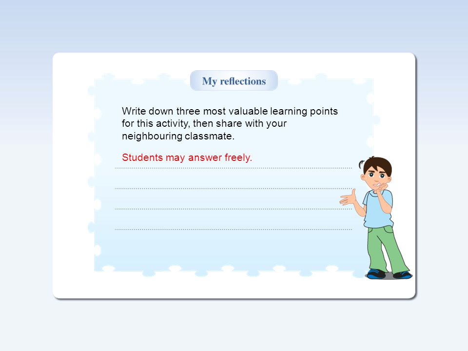 Write down three most valuable learning points for this activity, then share with your neighbouring classmate.