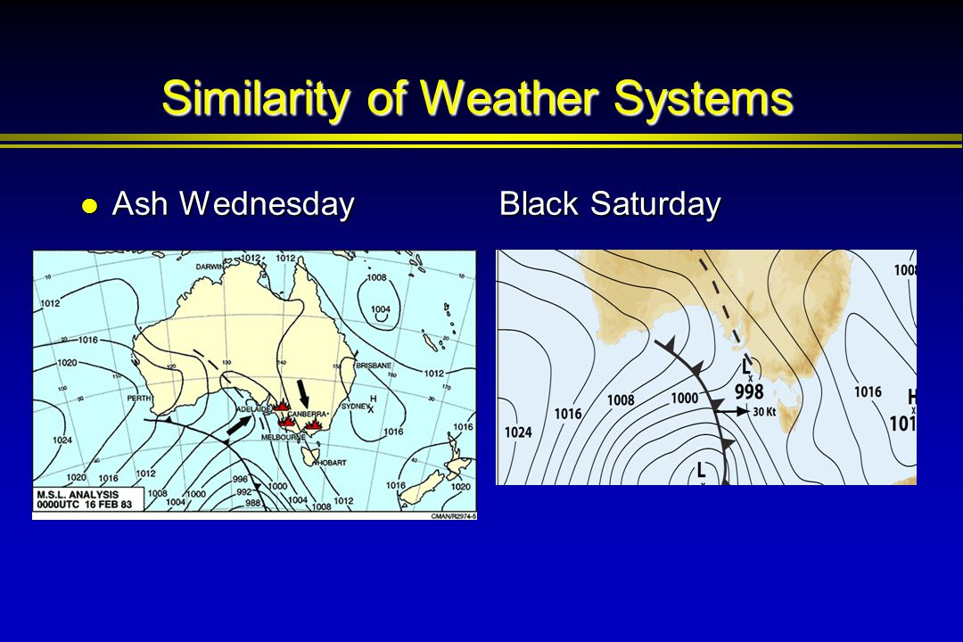Similarity of Weather Systems Ash Wednesday Ash Wednesday Black Saturday Black Saturday