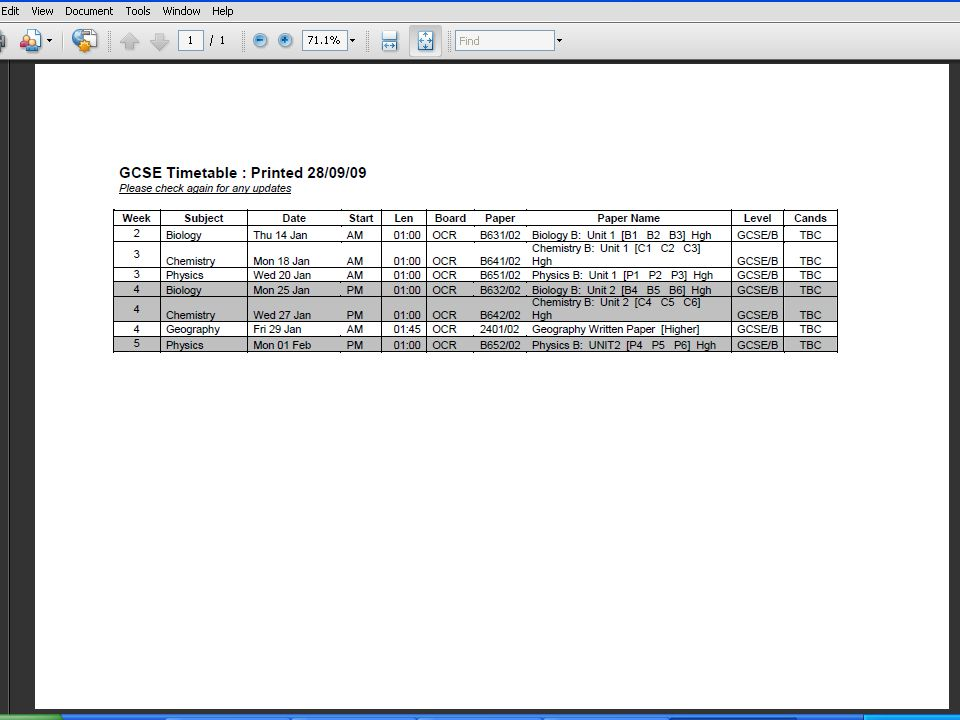 Individual timetables Candidate numbers Individual start time / room