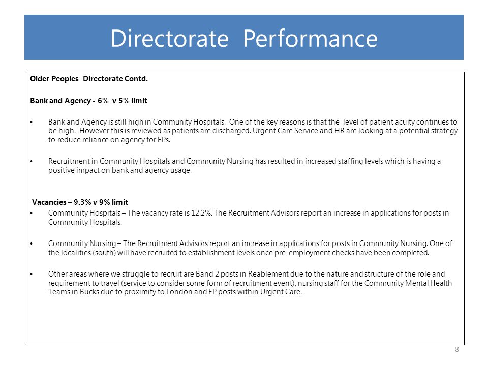 C&YP Directorate: Sickness 2.80% V 3.5% Target Sickness absence has seen a further decrease since last report of 0.53%.