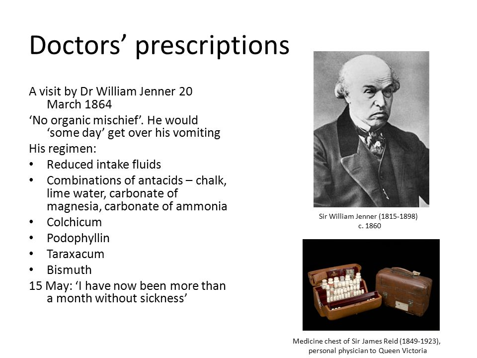 Doctors' prescriptions A visit by Dr William Jenner 20 March 1864 'No organic mischief'.