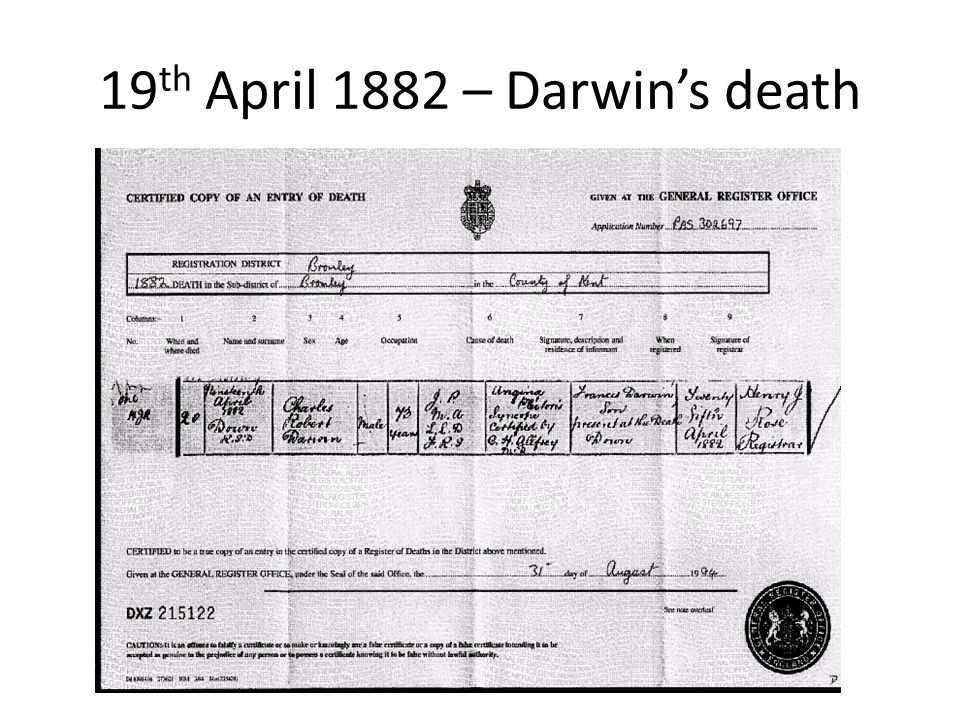 19 th April 1882 – Darwin's death