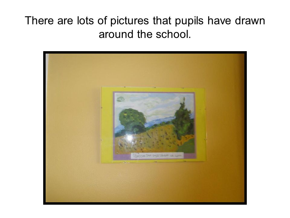 There are lots of pictures that pupils have drawn around the school.