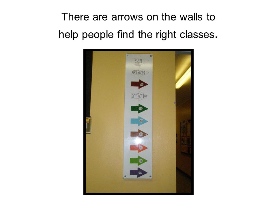 There are arrows on the walls to help people find the right classes.
