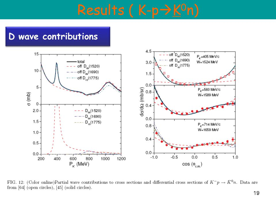 19 D wave contributions Results ( K-p  K 0 n)