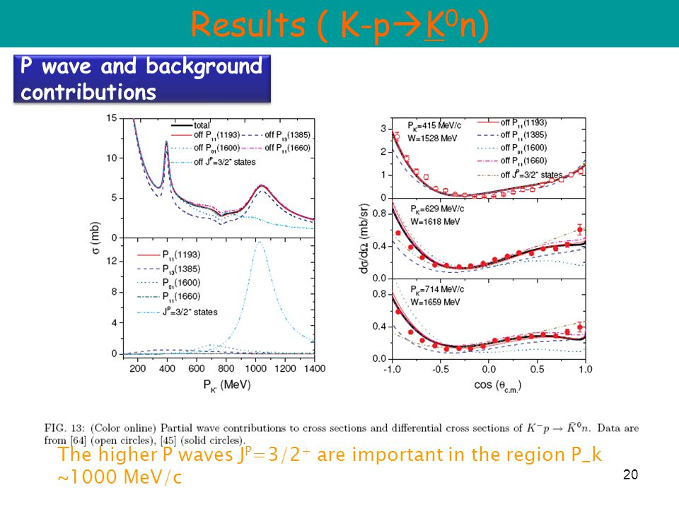 20 P wave and background contributions Results ( K-p  K 0 n) The higher P waves J P =3/2 + are important in the region P_k ~1000 MeV/c