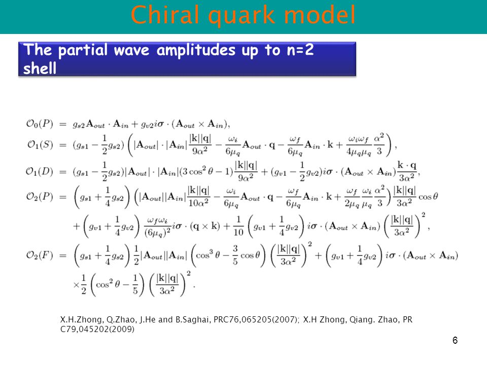 6 Chiral quark model The partial wave amplitudes up to n=2 shell X.H.Zhong, Q.Zhao, J.He and B.Saghai, PRC76,065205(2007); X.H Zhong, Qiang.