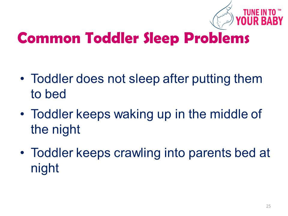 Common Toddler Sleep Problems Toddler does not sleep after putting them to bed Toddler keeps waking up in the middle of the night Toddler keeps crawling into parents bed at night 25
