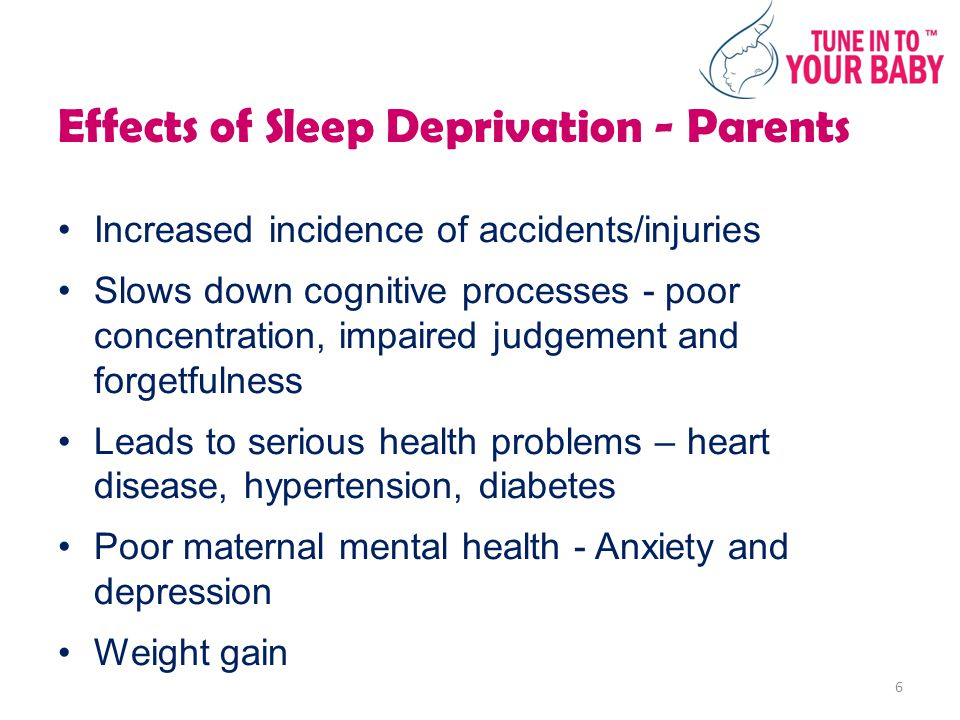 Effects of Sleep Deprivation - Parents Increased incidence of accidents/injuries Slows down cognitive processes - poor concentration, impaired judgement and forgetfulness Leads to serious health problems – heart disease, hypertension, diabetes Poor maternal mental health - Anxiety and depression Weight gain 6