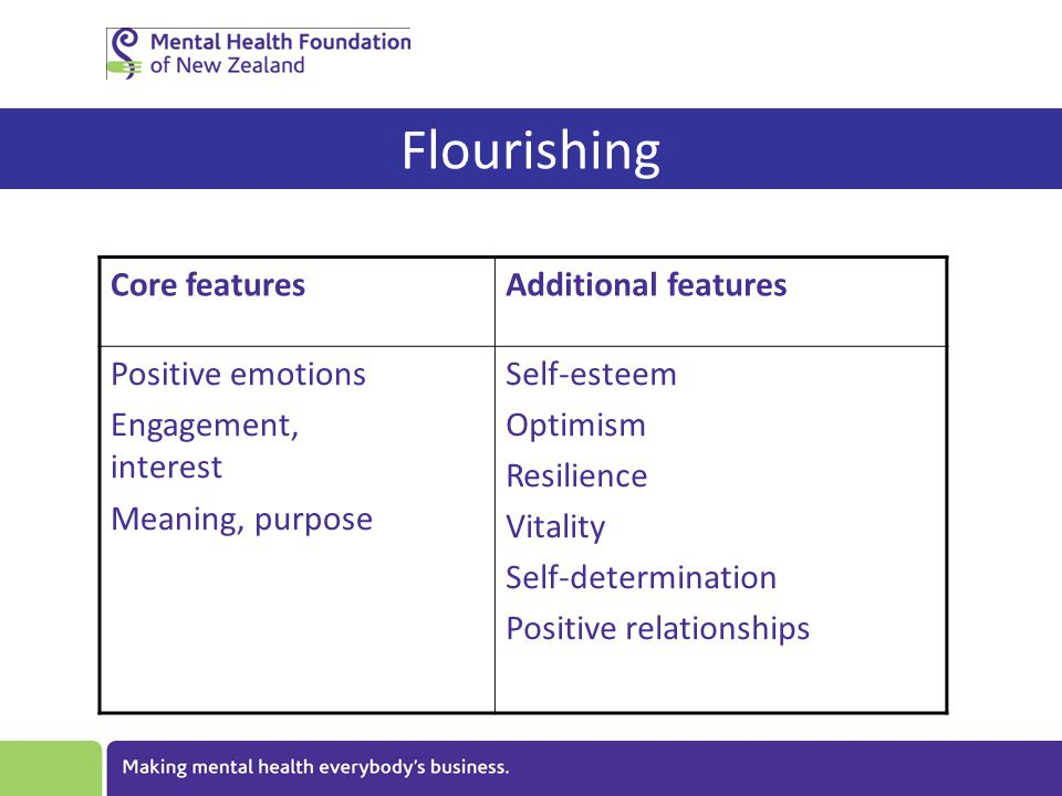 Flourishing Core featuresAdditional features Positive emotions Engagement, interest Meaning, purpose Self-esteem Optimism Resilience Vitality Self-determination Positive relationships