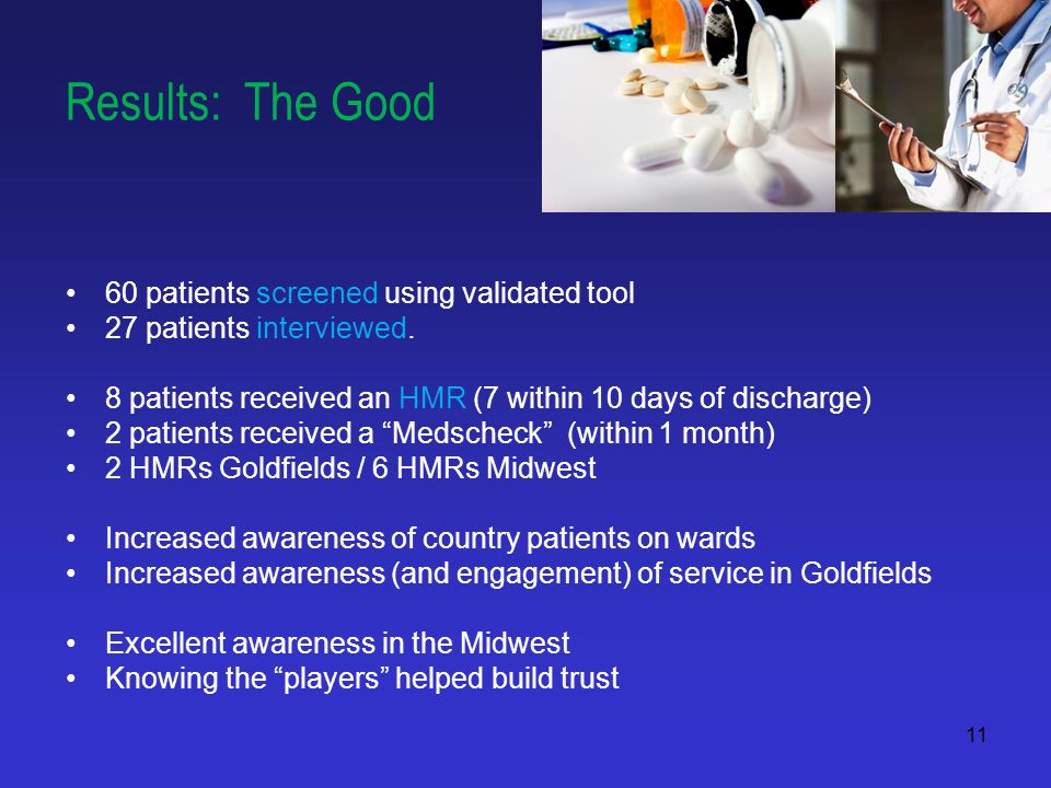 11 Results: The Good 60 patients screened using validated tool 27 patients interviewed.