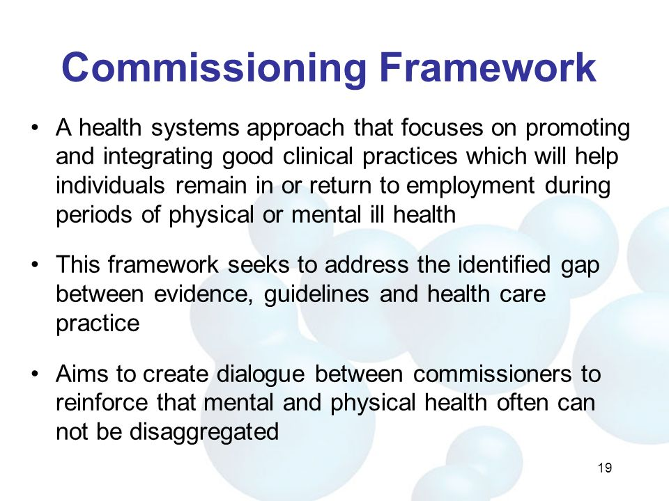 Commissioning Framework A health systems approach that focuses on promoting and integrating good clinical practices which will help individuals remain in or return to employment during periods of physical or mental ill health This framework seeks to address the identified gap between evidence, guidelines and health care practice Aims to create dialogue between commissioners to reinforce that mental and physical health often can not be disaggregated 19