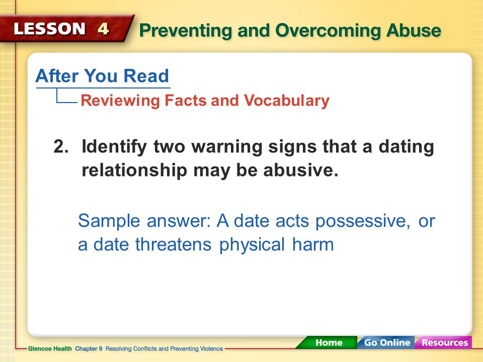 After You Read Reviewing Facts and Vocabulary The use of words to mistreat or injure another person 1.What is verbal abuse