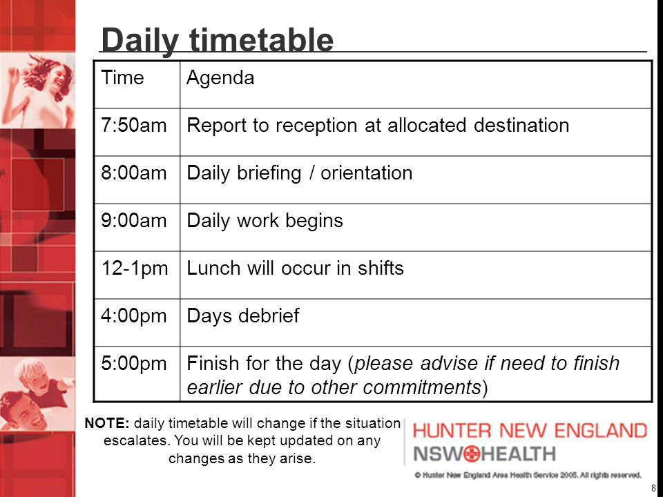 8 Daily timetable TimeAgenda 7:50amReport to reception at allocated destination 8:00amDaily briefing / orientation 9:00amDaily work begins 12-1pmLunch will occur in shifts 4:00pmDays debrief 5:00pmFinish for the day (please advise if need to finish earlier due to other commitments) NOTE: daily timetable will change if the situation escalates.