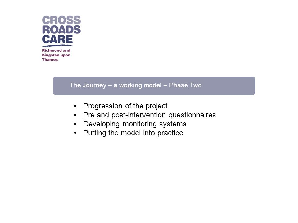 The Journey – a working model – Phase Two Progression of the project Pre and post-intervention questionnaires Developing monitoring systems Putting th