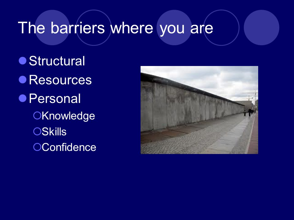 The barriers where you are Structural Resources Personal  Knowledge  Skills  Confidence