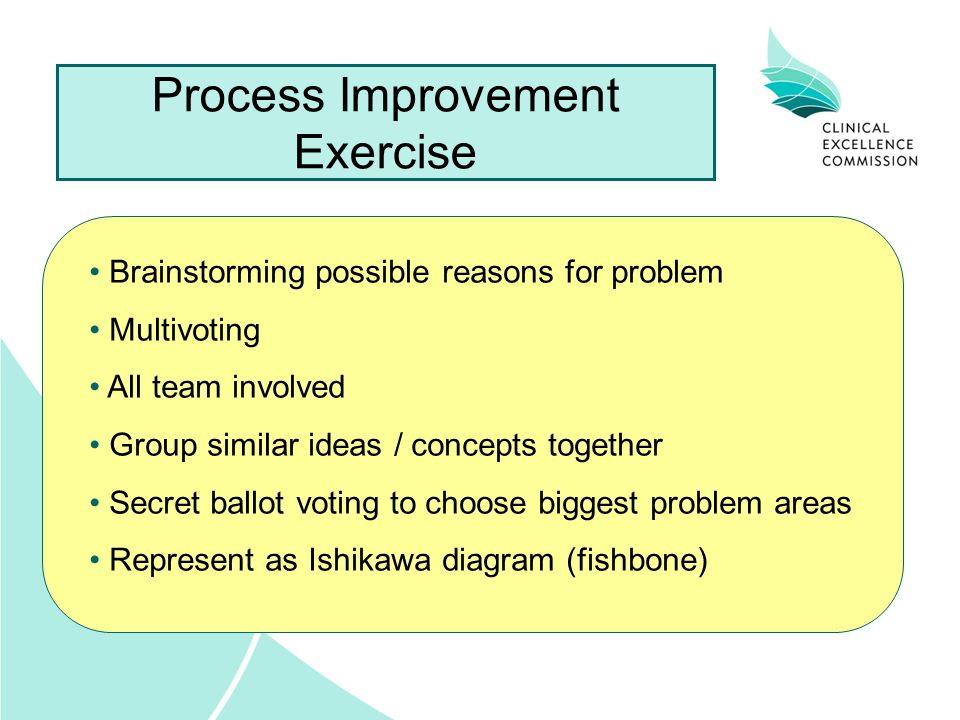Process Improvement Exercise Brainstorming possible reasons for problem Multivoting All team involved Group similar ideas / concepts together Secret ballot voting to choose biggest problem areas Represent as Ishikawa diagram (fishbone)