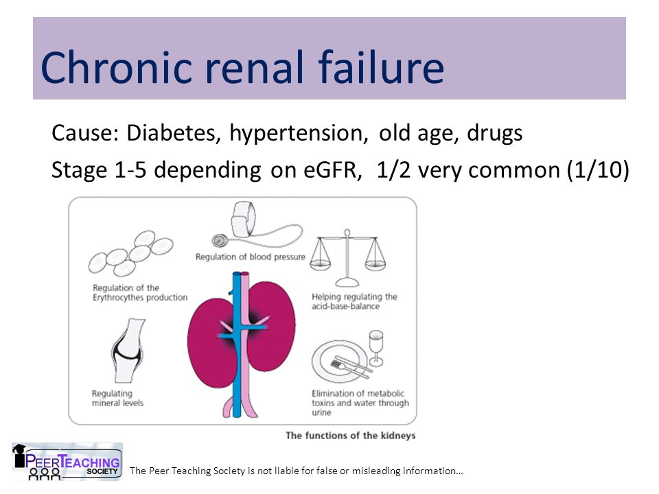 Cause: Diabetes, hypertension, old age, drugs Stage 1-5 depending on eGFR, 1/2 very common (1/10) The Peer Teaching Society is not liable for false or