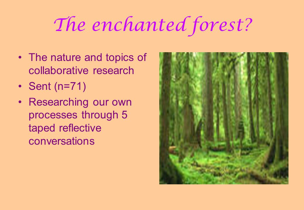 The enchanted forest? The nature and topics of collaborative research Sent (n=71) Researching our own processes through 5 taped reflective conversatio