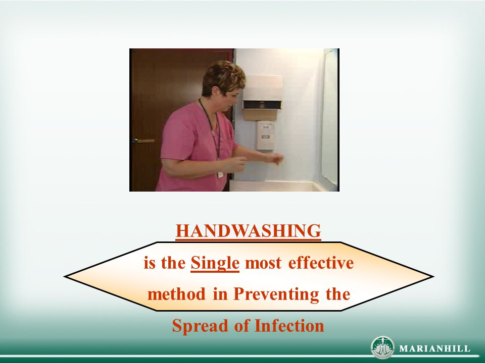 HANDWASHING is the Single most effective method in Preventing the Spread of Infection