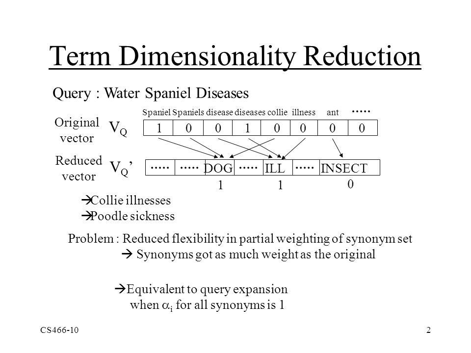 CS466-102 Term Dimensionality Reduction Query : Water Spaniel Diseases VQVQ VQ'VQ' Spaniel Spaniels disease diseases collie illness ant 1 0 0 1 0 0 0