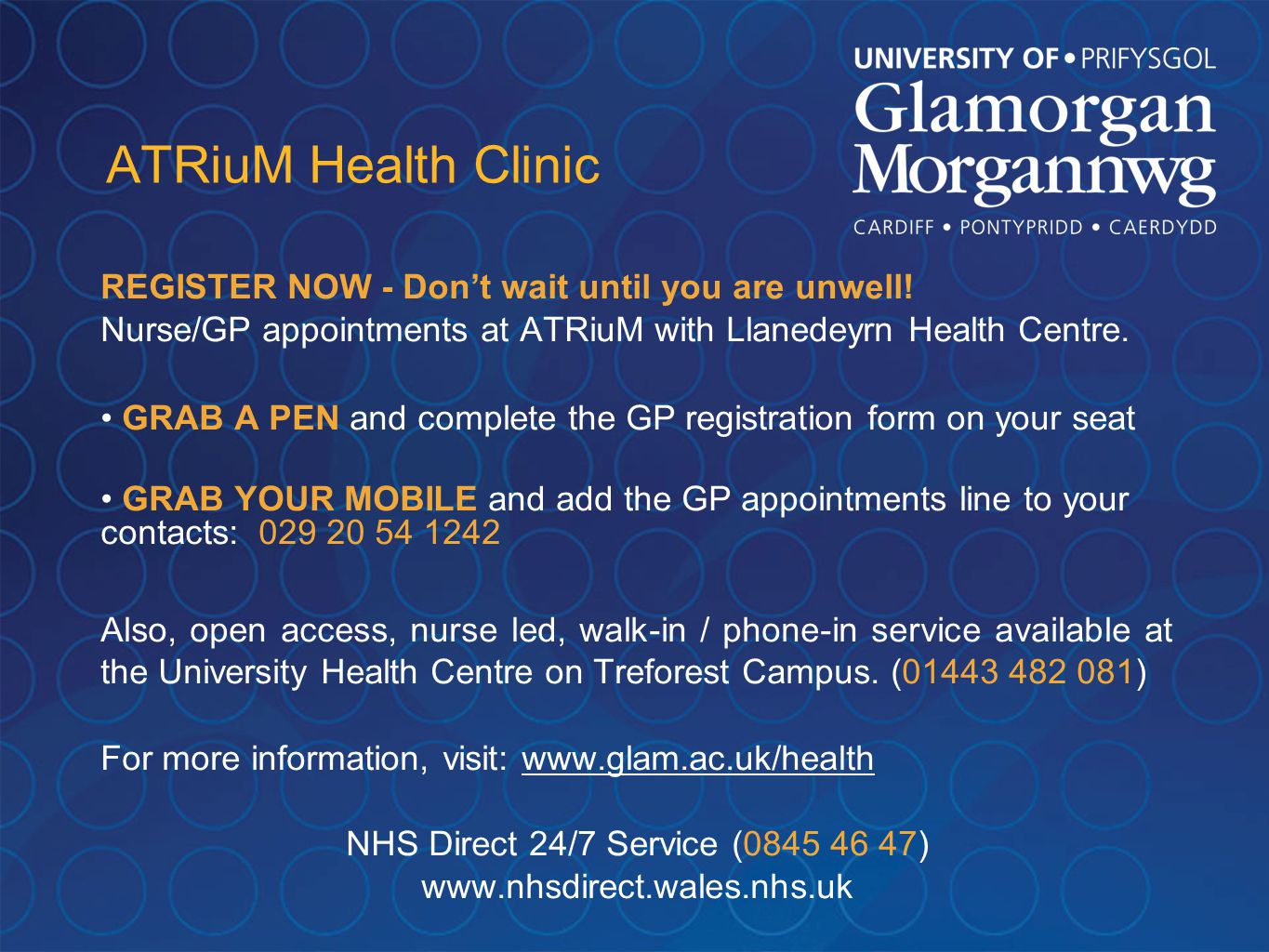 ATRiuM Health Clinic REGISTER NOW - Don't wait until you are unwell.