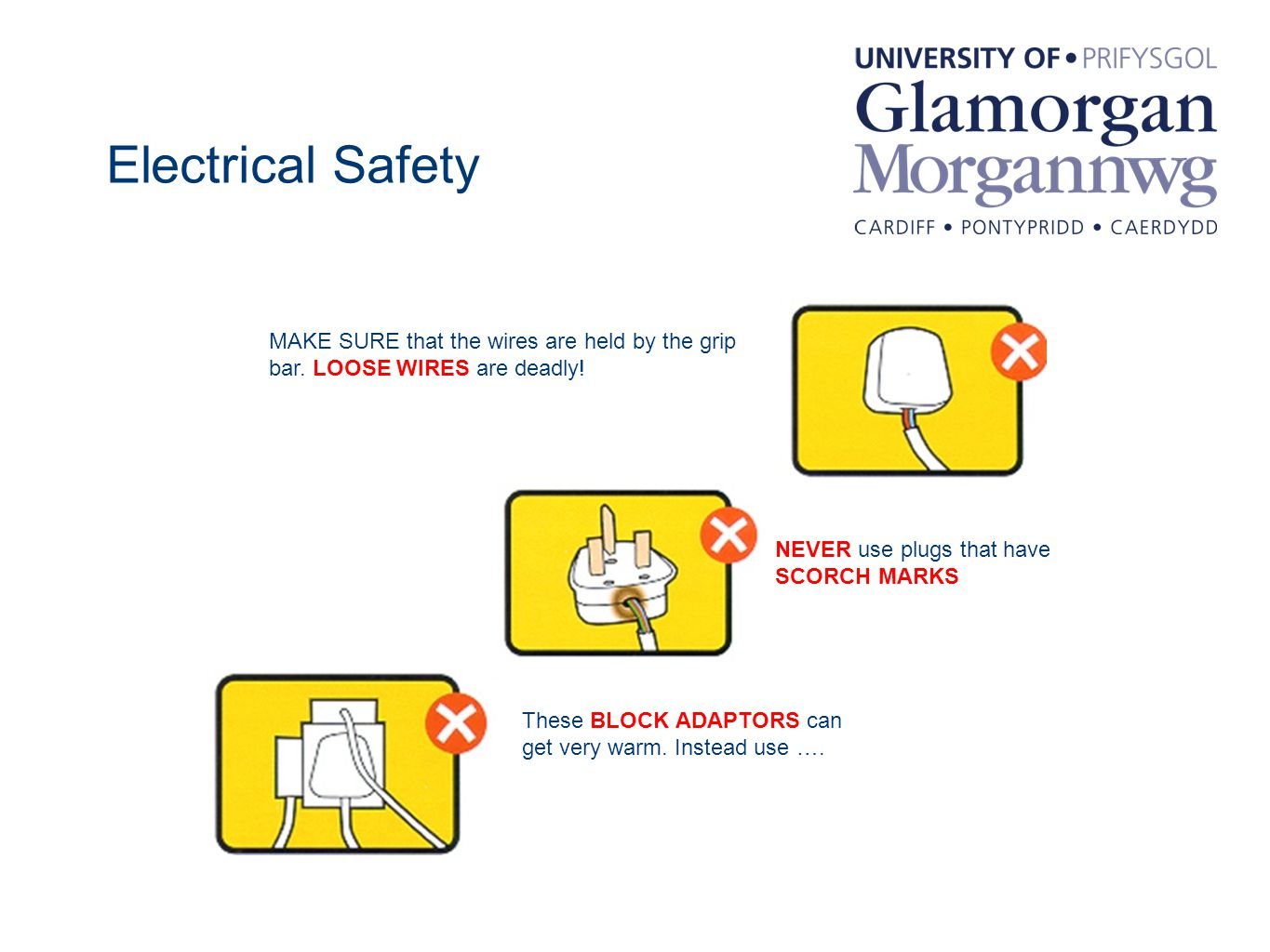 Electrical Safety MAKE SURE that the wires are held by the grip bar.