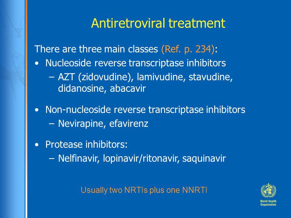 Antiretroviral treatment There are three main classes (Ref.