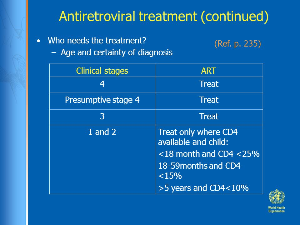 Antiretroviral treatment (continued) Who needs the treatment.