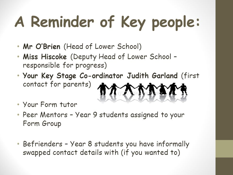 A Reminder of Key people: Mr O'Brien (Head of Lower School) Miss Hiscoke (Deputy Head of Lower School – responsible for progress) Your Key Stage Co-ordinator Judith Garland (first contact for parents) Your Form tutor Peer Mentors – Year 9 students assigned to your Form Group Befrienders – Year 8 students you have informally swapped contact details with (if you wanted to)