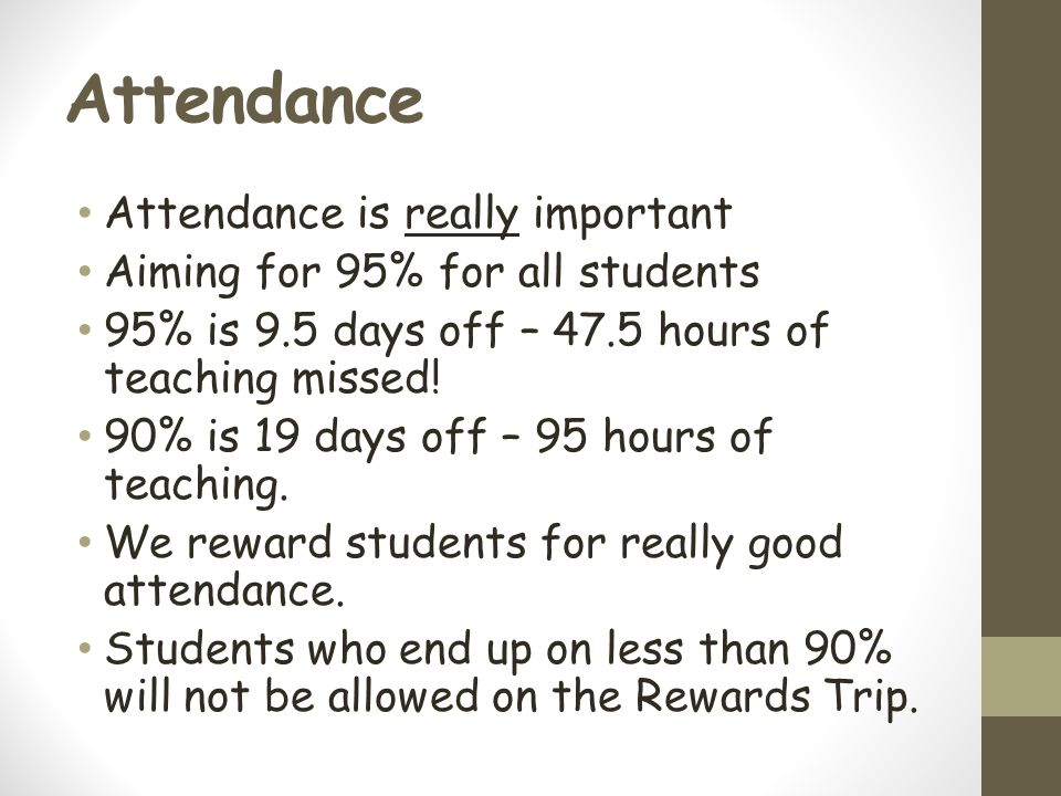 Attendance Attendance is really important Aiming for 95% for all students 95% is 9.5 days off – 47.5 hours of teaching missed.