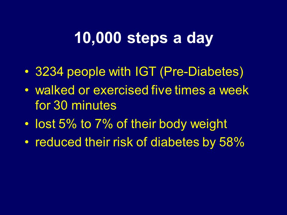 10,000 steps a day 3234 people with IGT (Pre-Diabetes) walked or exercised five times a week for 30 minutes lost 5% to 7% of their body weight reduced their risk of diabetes by 58%