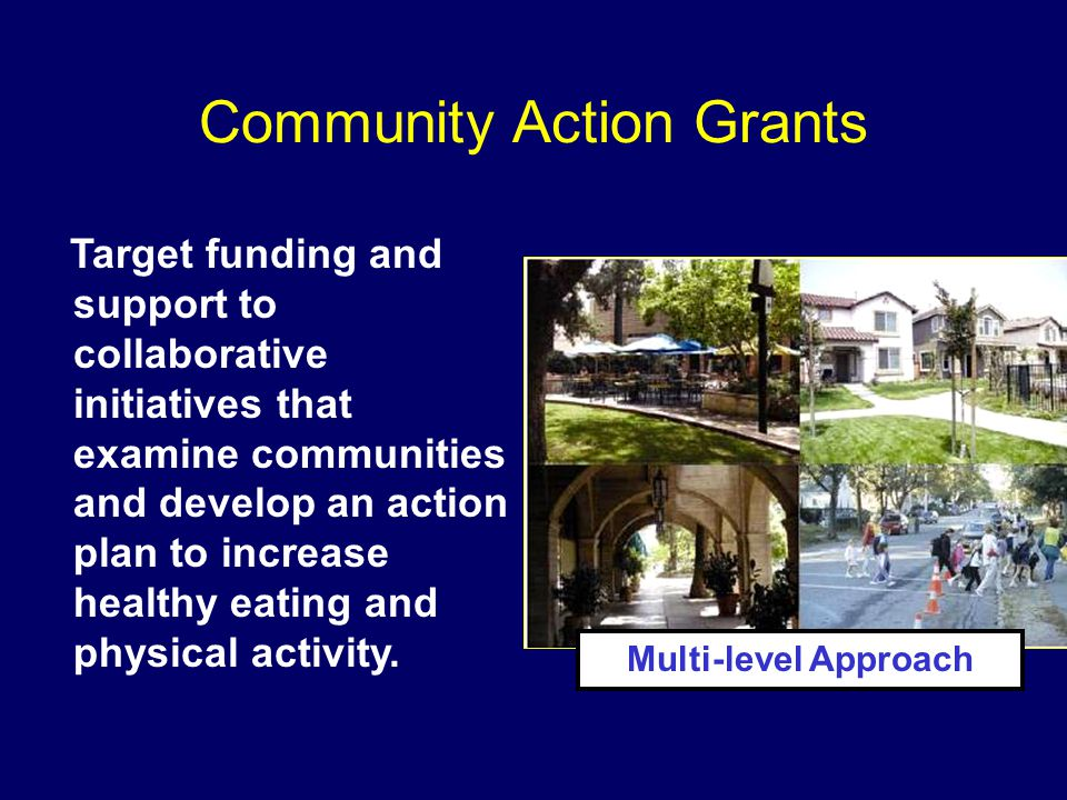 Community Action Grants Target funding and support to collaborative initiatives that examine communities and develop an action plan to increase healthy eating and physical activity.