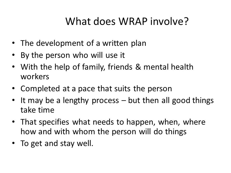 What does WRAP involve.