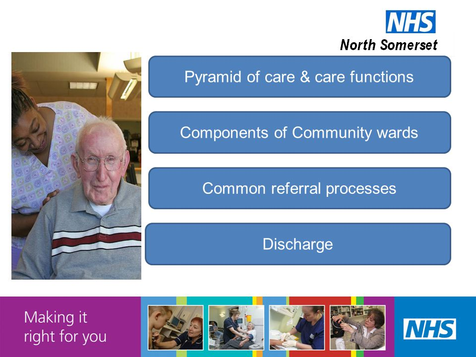 Pyramid of care & care functions Components of Community wards Common referral processes Discharge