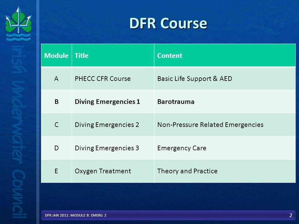 In Module B: We will Cover Diving Emergencies 1Diving Emergencies 1 –Overview - Physics and physiology Decompression Illness (DCI)Decompression Illness (DCI) –Decompression Sickness –Pulmonary Barotrauma (Burst Lung) 3 DFR JAN 2011: MODULE B: EMERG 2