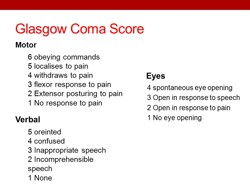 Glasgow Coma Score Motor 4 spontaneous eye opening 3 Open in response to speech 2 Open in response to pain 1 No eye opening Verbal 6 obeying commands